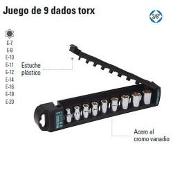 "Juego de 9 Dados Torx 3/8"" TRUPER"