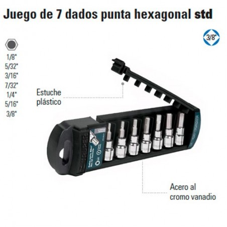 "Juego de 7 Dados Punta Hexagonal STD 3/8"" TRUPER"