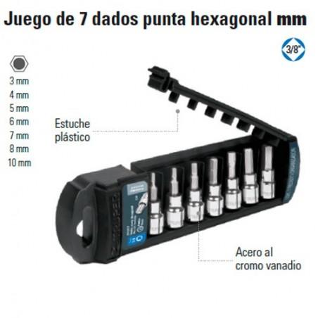 "Juego de 7 Dados Punta Hexagonal MM 3/8"" TRUPER"