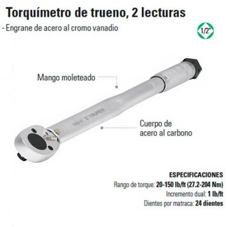 """Torquímetro de Trueno 2 Lecturas 1/2"""" TRUPER"""