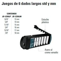 """Juego de 6 Dados Largos STD y MM 1/2"""" TRUPER"""