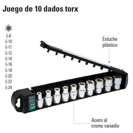 "Juego de 10 Dados Torx 1/2"" TRUPER"