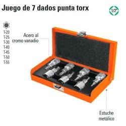 """Juego de 7 Dados Punta Torx 1/2"""" TRUPER"""