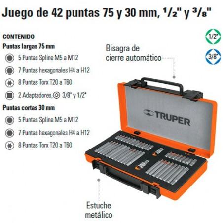 """Juego de 42 Puntas 75 y 30 mm 1/2"""" y 3/8"""" TRUPER"""