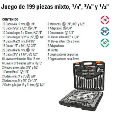 """Juego de Dados 199 Piezas Mixto 1/4"""" 3/8"""" y 1/2"""" TRUPER"""
