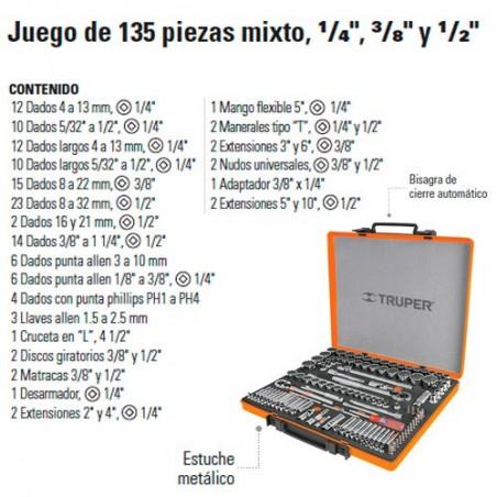 """Juego de Dados 135 Piezas Mixto 1/4"""" 3/8"""" y 1/2"""" TRUPER"""