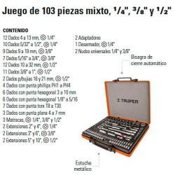 """Juego de Dados 103 Piezas Mixto 1/4"""" 3/8"""" y 1/2"""" TRUPER"""