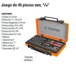 """Juego de  Dados 45 Piezas mm 1/4"""" TRUPER"""