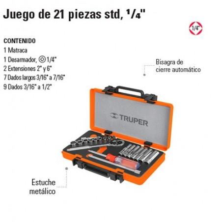 """Juego de Dados 21 Piezas STD 1/4"""" TRUPER"""