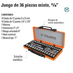 """Juego de Dados 36 Piezas Mixto 3/8"""" TRUPER"""