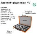 """Juego de Dados 64 Piezas Mixto 1/2"""" TRUPER"""