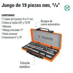 """Juego de Dados 19 Piezas MM 1/2"""" TRUPER"""