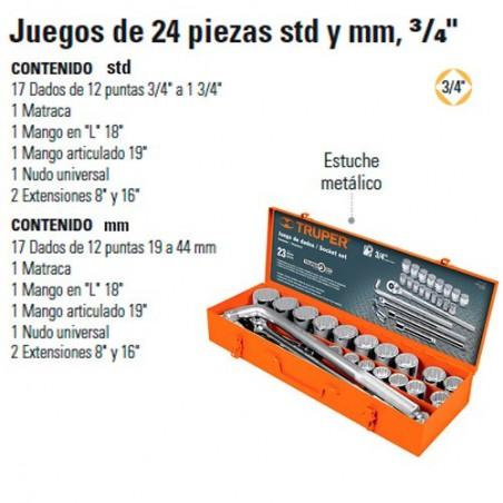 """Juego de Dados 24 Piezas STD 3/4"""" TRUPER"""