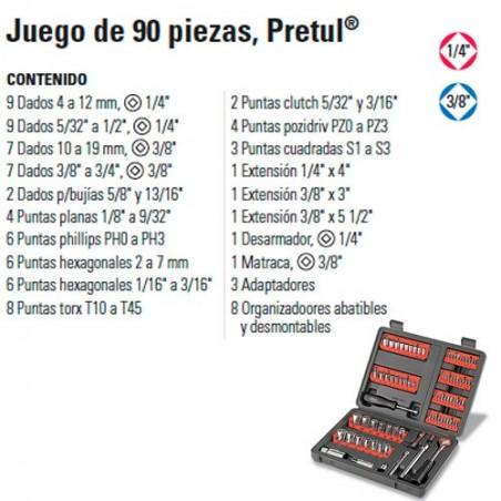 """Juego de Dados 90 Piezas 1/4"""" y 3/8"""" PRETUL"""