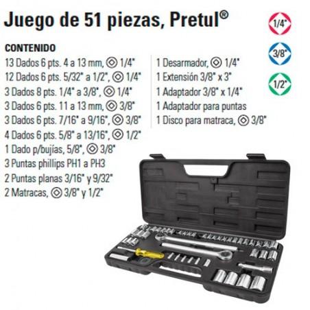 """Juego de Dados 51 Piezas 1/4"""" 3/8"""" y 1/2"""" TRUPER"""