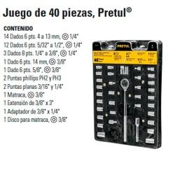 """Juego de Dados 40 Piezas 1/4"""" y 3/8"""" PRETUL"""