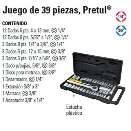 """Juego de Dados 39 Piezas 1/4"""" y 3/8"""" PRETUL"""