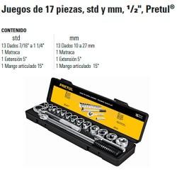 """Juego de Dados 17 Piezas 1/2"""" PRETUL"""