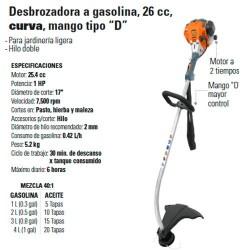 """Desbrozadora a Gasolina 26 cc Curva Mango Tipo """"D"""" TRUPER"""
