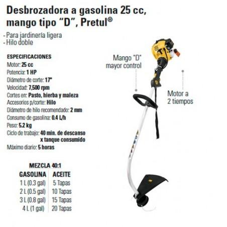 """Desbrozadora a Gasolina 25 cc Mango Tipo """"D"""" PRETUL"""