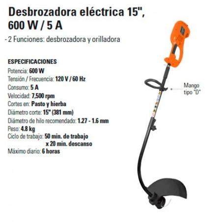 """Desborzadora Electrica 15"""" 600 W / 15 A TRUPER"""
