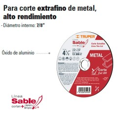 Disco Abrasivo Para Corte Extrafino de Metal Alto Rendimiento TRUPER