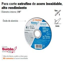 Disco Abrasivo Para Corte Extrafino de Acero Inoxidable Alto Rendimiento TRUPER