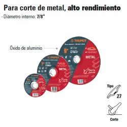 Disco Abrasivo Para Corte de Metal Alto Rendimiento Tipo 27 TRUPER