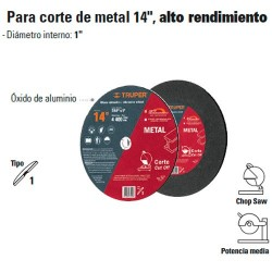 "Disco Abrasivo Para Corte de Metal 14"" Alto Rendimiento TRUPER"