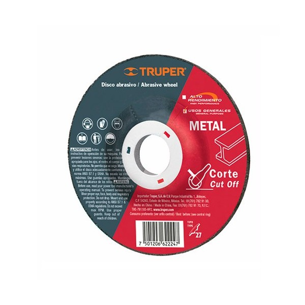 Disco Abrasivo Para Corte de Metal Uso General Tipo 27 TRUPER