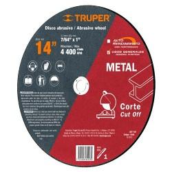 "Disco Abrasivo Para Corte de Metal 14"" Para Maquina Cortadora de Metales Uso General TRUPER"