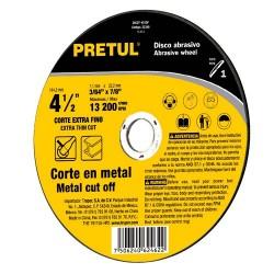 Disco Abrasivo Para Corte Extrafino de Metal Alto Rendimiento Uso General PRETUL