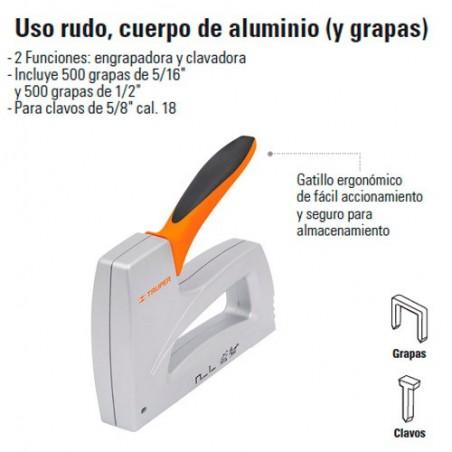 Engrapadora Tipo Pistola Uso Rudo Cuerpo de Aluminio TRUPER