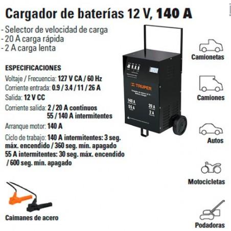 Cargador de Baterías 12 V 140 A TRUPER