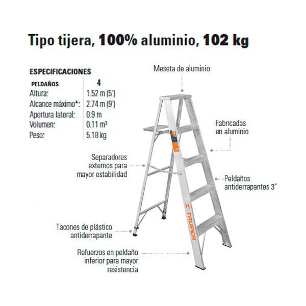 Compra en linea escalera tipo tijera 100 aluminio 102 kg for Escalera telescopica tipo tijera