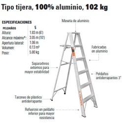 Escalera Tipo Tijera 100% Aluminio 102 kg TRUPER