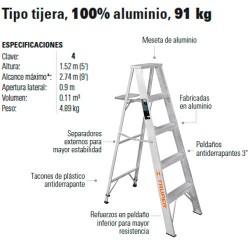 Escalera Tipo tijera 100% Aluminio 91 kg TRUPER
