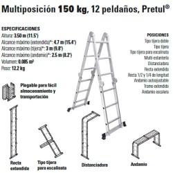 Escalera Multiposición 150 kg 12 Peldaños PRETUL
