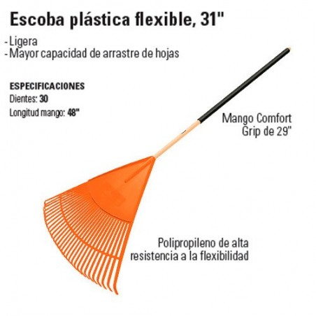 "Escoba Plástica Flexible 31"" TRUPER"
