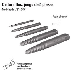 Extractor de Tornillo Juego de 5 Piezas TRUPER