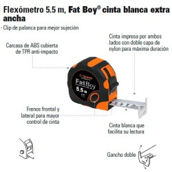 Flexómetro 5.5 m Fat Boy® Cinta Blanca Extra Ancha TRUPER