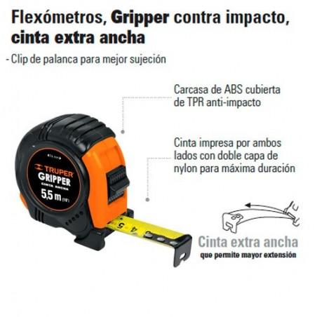 Flexómetro Gripper Contra Impacto Cinta Extra Ancha TRUPER