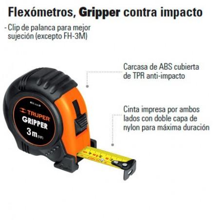 Flexómetro Gripper Contra Impacto TRUPER