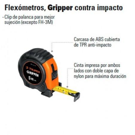 Flexómetro Gripper Contra Impacto Graduacion Métrica TRUPER