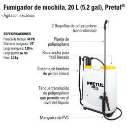 Fumigador de Mochila 20 L (5.2 gal) PRETUL