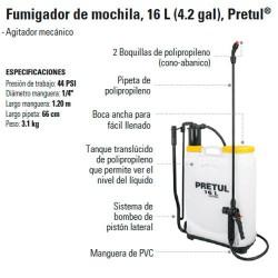 Fumigador de Mochila 16 L (4.2 gal) PRETUL