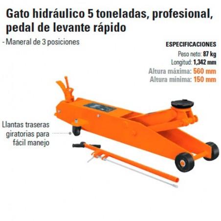Gato Hidráulico 5 Toneladas Profesional Pedal de Levante Rapido