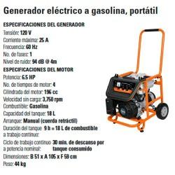 Generador Eléctrico a Gasolina Portátil 6.5 HP TRUPER