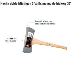 "Hacha Doble Michigan 3 1/2 lb Mango de Hickory 35"" TRUPER"