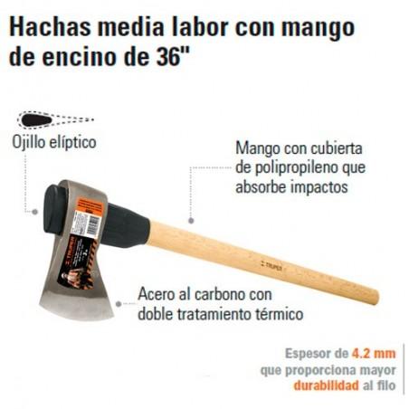 """Hacha Media Labor con Mango de Encino de 36"""" TRUPER"""